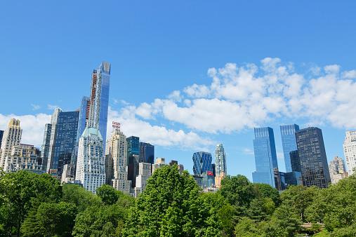 マンハッタン セントラルパーク「The cloud above fresh green trees and skyscraper」:スマホ壁紙(7)