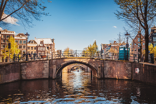 Amsterdam「Amsterdam cityscape with canal and bridges in Netherlands」:スマホ壁紙(14)