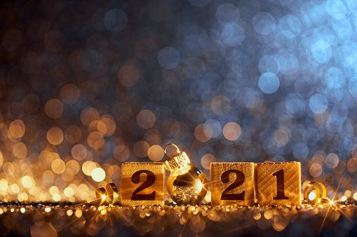 New Year「New Year 2021 Christmas Decoration - Gold Blue Party Celebration Wood Cube」:スマホ壁紙(5)