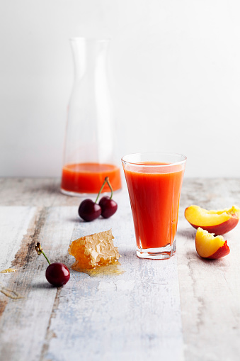 Vegetable Juice「Cherry fruit and Peach smoothie in glass,Peach juice」:スマホ壁紙(1)