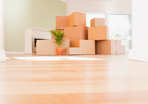 Low Angle View「Boxes stacked on wooden floor of new house」:スマホ壁紙(4)