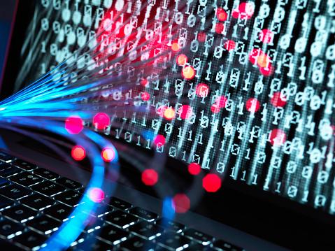 Cyber-「Cyber Attack, Fibre optics containing a virus infecting a computer」:スマホ壁紙(4)
