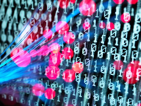 Cyber-「Cyber Attack, Fibre optics containing a virus infecting a computer」:スマホ壁紙(18)