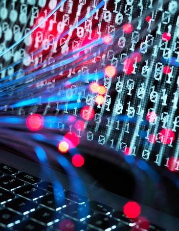 Cyber-「Cyber Attack, Fibre optics containing a virus infecting a computer」:スマホ壁紙(9)