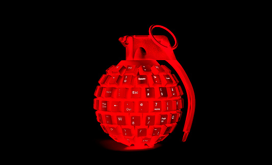 Threats「cyber attack red grenade made from computer keyboard」:スマホ壁紙(12)