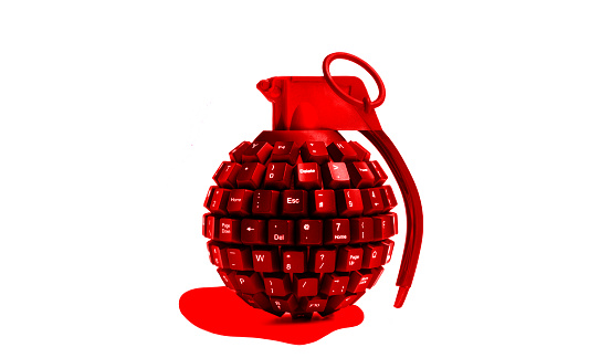 Cyber-「cyber attack red bleeding grenade made from computer keyboard」:スマホ壁紙(16)