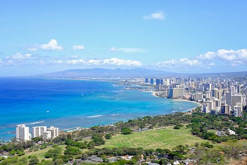 オアフ島「USA, Hawaii, Honolulu cityscape as seen from Diamond Head」:スマホ壁紙(4)