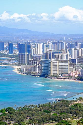 オアフ島「USA, Hawaii, Honolulu cityscape as seen from Diamond Head」:スマホ壁紙(12)