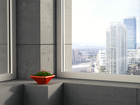 Wood Sorrel「Red bowl of clover standing on window sill in a modern high-rise building, 3D Rendering」:スマホ壁紙(3)