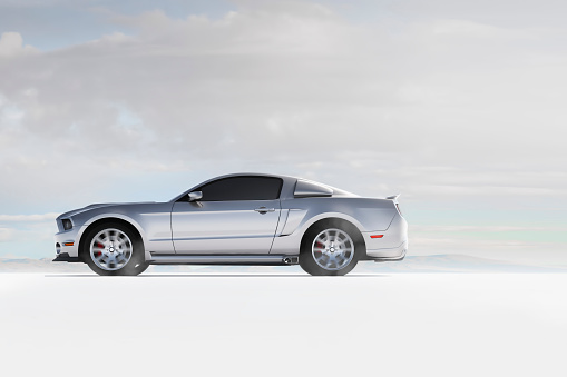 Low Angle View「Silver sports car in white landscape」:スマホ壁紙(18)