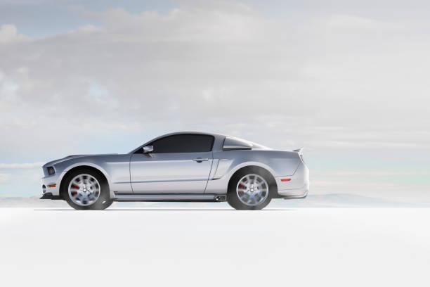 Silver sports car in white landscape:スマホ壁紙(壁紙.com)