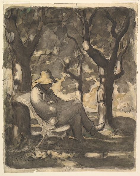 chestnut「A Man Reading In A Garden (Recto); Preliminary Sketch For A Man Reading In A Garden (V」:写真・画像(5)[壁紙.com]