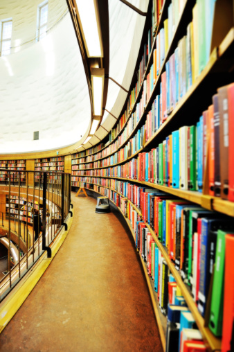 Information Medium「Library bookshelf, diminishing perspective」:スマホ壁紙(19)
