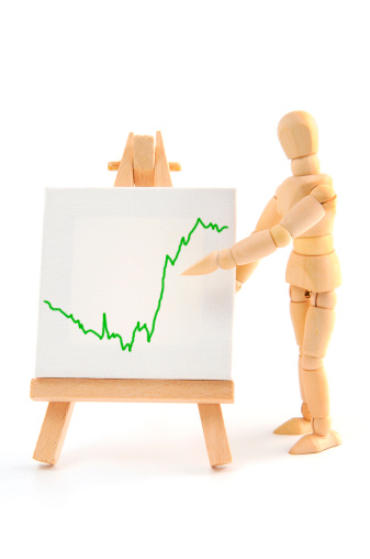 Ventriloquist's Dummy「Wooden mannequin pointing with hand on business graph」:スマホ壁紙(18)