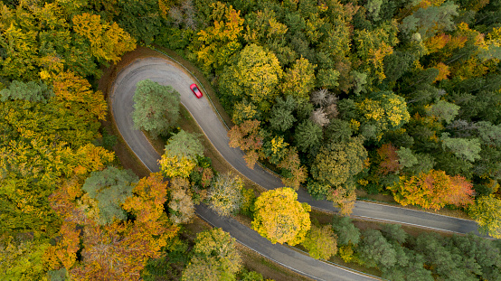Hairpin Curve「Hairpin curve on a country road in autumn」:スマホ壁紙(2)
