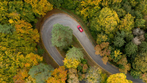 Hairpin curve on a country road in autumn:スマホ壁紙(壁紙.com)
