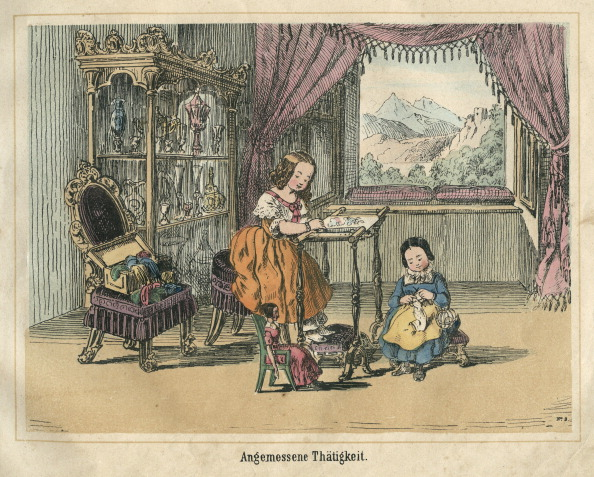 Knitting「Suitable Activity. Color Lithograph From: Das Leben In Der Puppenwelt. Edited By M[Atthaeus] Trentsensky In Vienna. No Date (About 1850).」:写真・画像(14)[壁紙.com]