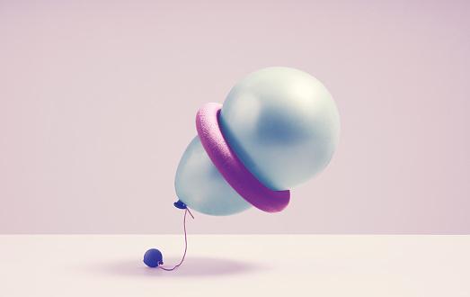 Effort「A ballon tries to squeeze threw a spherical ring」:スマホ壁紙(2)