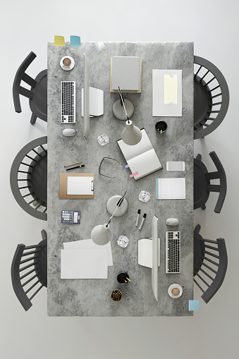 Studio - Workplace「Office business team desk copy space knolling template」:スマホ壁紙(9)