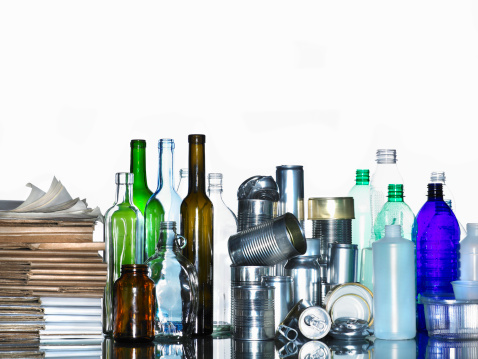 Recycling「Cardboard, glass, aluminium, and plastic organized for recycling」:スマホ壁紙(10)