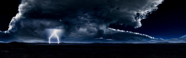 Lightning「Thunderstorm in a Large Desert (Night)」:スマホ壁紙(15)