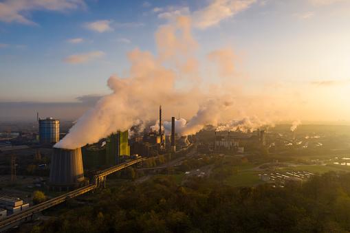 Steelmaking「Steel mill at sunset」:スマホ壁紙(14)