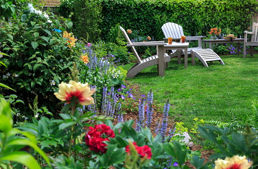 Focus On Background「Back yard garden with peonies and two chairs」:スマホ壁紙(19)