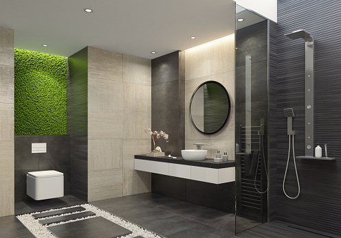 Limestone「Luxury bathroom with innovative green moss wall」:スマホ壁紙(0)