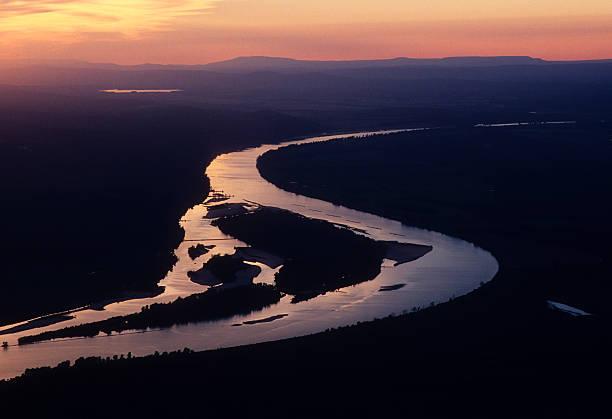 Aerial of Arkansas River at sunset:スマホ壁紙(壁紙.com)