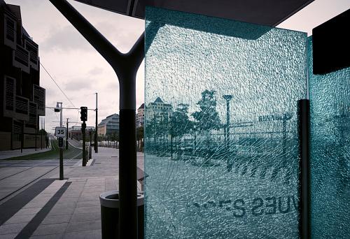 Rebellion「Broken window of tram stop in Paris, France」:スマホ壁紙(16)