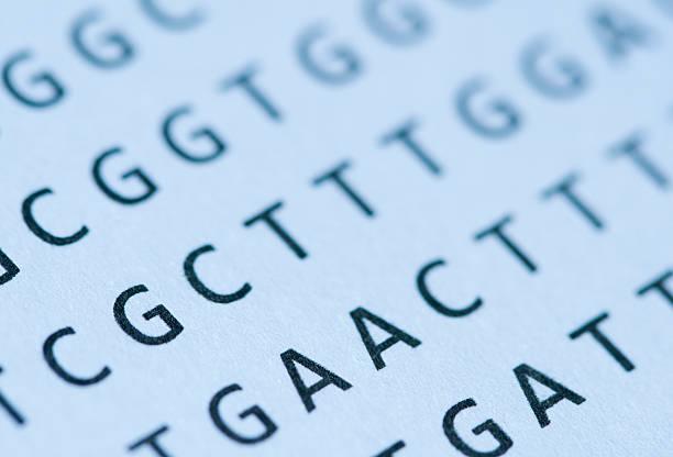 Macro of blue-tinted DNA nucleotide sequence printout on paper:スマホ壁紙(壁紙.com)