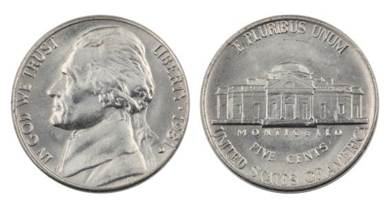 米国硬貨「ジェファーソンのニッケル下地メッキ」:スマホ壁紙(19)