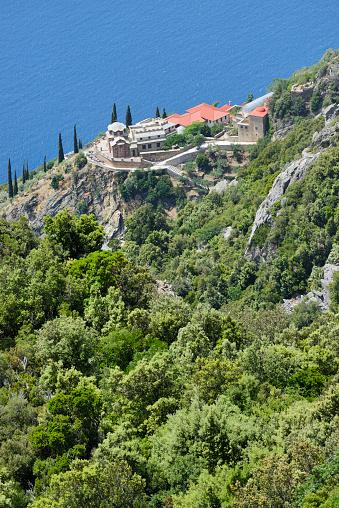 Mt Athos Monastic Republic「Greece, Chalkidiki, Mount Athos, World Heritage site, Monastic settlement near skete Aghia Annas」:スマホ壁紙(2)