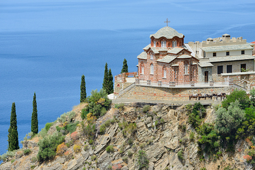 Mt Athos Monastic Republic「Greece, Chalkidiki, Mount Athos, World Heritage site, Kellia (cell) near Skete Aghia Annas」:スマホ壁紙(13)