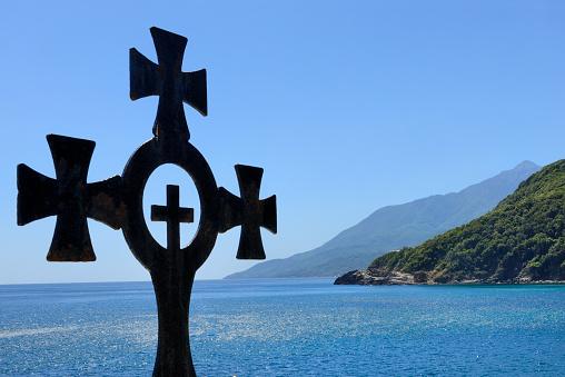 Mt Athos Monastic Republic「Greece, Chalkidiki, Mount Athos peninsula, listed as World Heritage, Surroundings of Pantokratoros m」:スマホ壁紙(17)