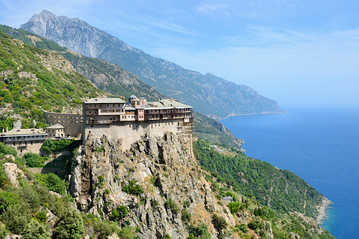 Mt Athos Monastic Republic「Greece, Chalkidiki, Mount Athos peninsula, listed as World Heritage, Simonos Petra monastery」:スマホ壁紙(0)