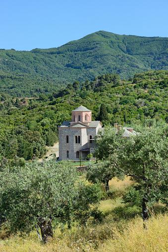 Mt Athos Monastic Republic「Greece, Chalkidiki, Mount Athos peninsula, listed as World Heritage, Vatopedi monastery surroundings」:スマホ壁紙(9)