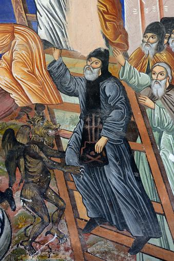 Mt Athos Monastic Republic「Greece, Chalkidiki, Mount Athos peninsula, listed as World Heritage, Zographou monastery, Fresco」:スマホ壁紙(17)