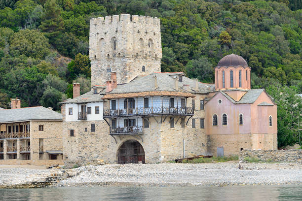 Greece, Chalkidiki, Mount Athos peninsula, listed as World Heritage, The Arsana (port) of Zographou:スマホ壁紙(壁紙.com)