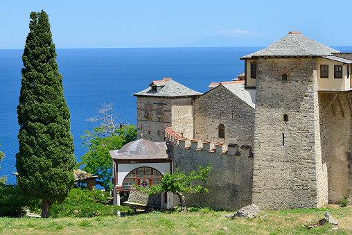 Mt Athos Monastic Republic「Greece, Chalkidiki, Mount Athos peninsula, World Heritage Site, Great Lavra (Megistis Lavras) monastery」:スマホ壁紙(0)