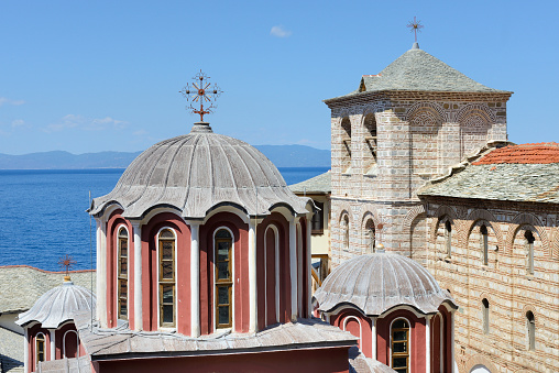 Mt Athos Monastic Republic「Greece, Chalkidiki, Mount Athos peninsula, World Heritage Site, Grigoriou monastery」:スマホ壁紙(0)