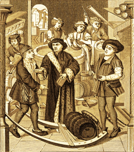 Circa 15th Century「The Bishop of Tournai receiving the tithe of beer」:写真・画像(4)[壁紙.com]