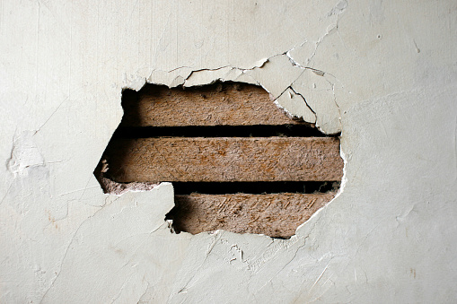 Demolished「Hole in Plaster Wall - Exposed Wood Paneling」:スマホ壁紙(5)