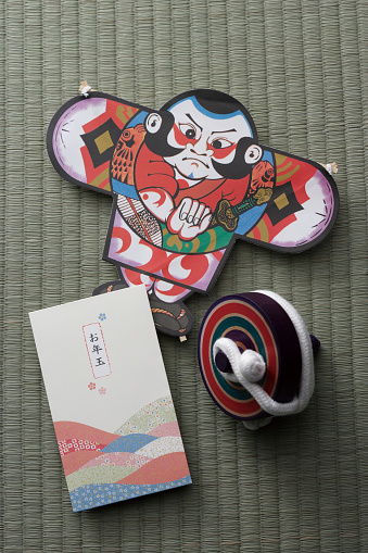 戦国武将「Japanese kite, spinning top and New Years money envelope」:スマホ壁紙(6)