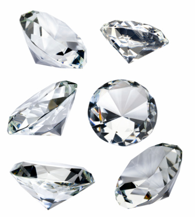 Stone - Object「Six Faceted Diamonds Isolated on White with Clipping Path」:スマホ壁紙(6)