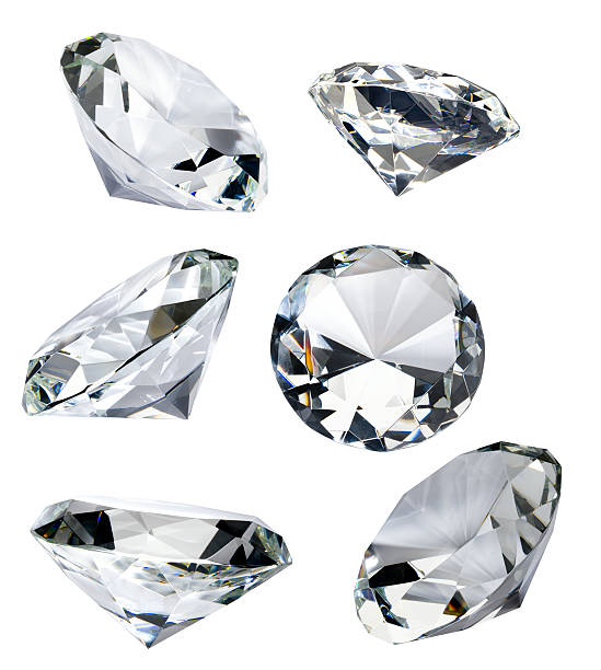 Six Faceted Diamonds Isolated on White with Clipping Path:スマホ壁紙(壁紙.com)