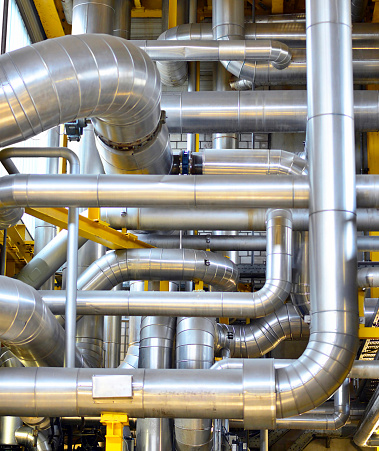 Silver Colored「Pipework in a factory」:スマホ壁紙(14)