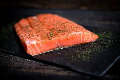 Raw Food「Raw salmon fillet on black slate」:スマホ壁紙(1)