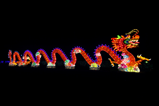Dragon「Dragon lantern illuminated at Chinese Lantern Festival」:スマホ壁紙(11)