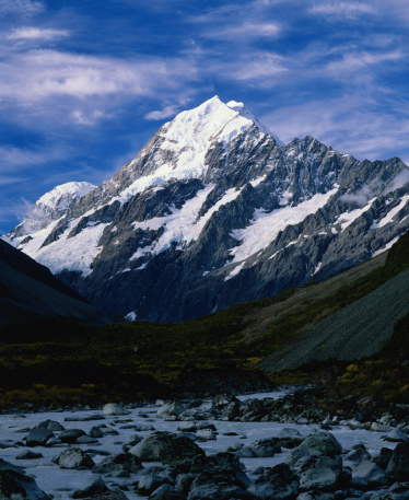 Mt Cook「Mount Cook seen from Hooker Valley, and Hooker River.」:スマホ壁紙(11)